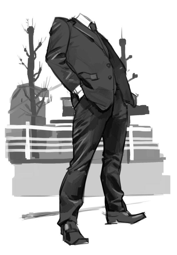スーツ男性(顔なし)を描くのが好きです。 見るのも好きです。本当に。スーツ男性のスーツがすきです。 スーツ…スーツ男性はいないか… #私の絵が好きそうなフォロワーさんにRTして届けておくれ絵