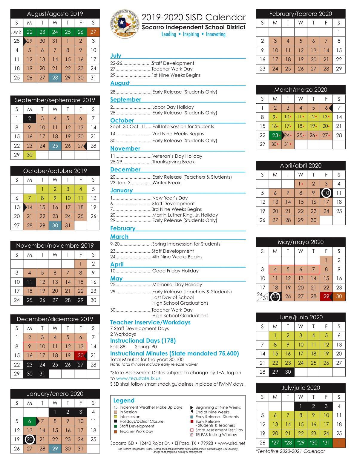 Sisd Calendar 2020 Socorro ISD on Twitter: