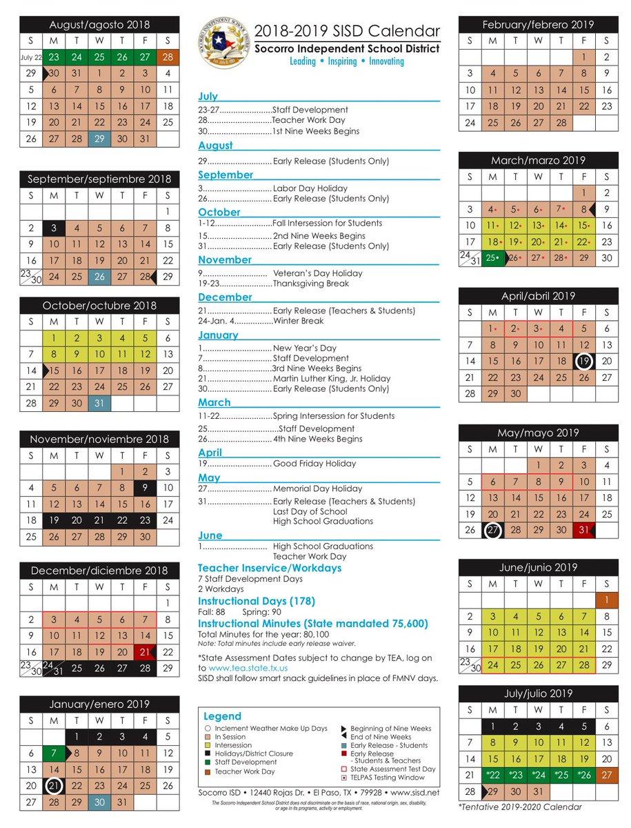 Sisd Calendar 2019 Socorro ISD on Twitter:
