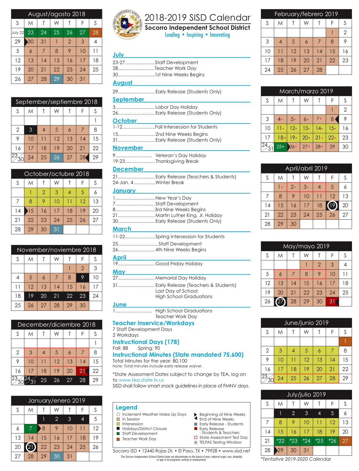Sisd Calendar 2022.Socorro Isd On Twitter The Sisd Board Of Trustees Approved The 2018 2019 And 2019 2020 Student Calendars To Download A Copy Of The Calendars Visit Https T Co Cq3x1rfe2e Https T Co Ytbwvfuedr