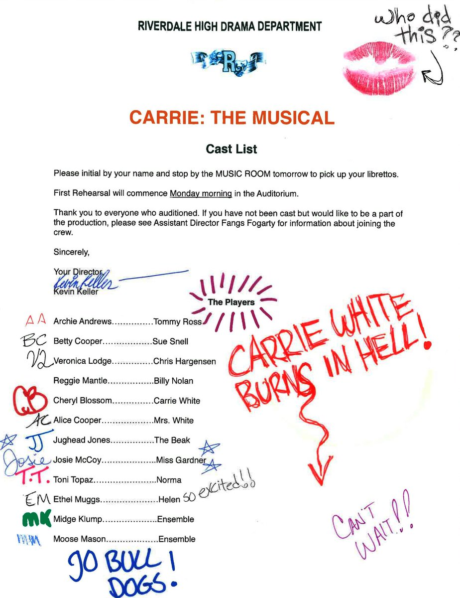 """Dream episode of #Riverdale coming up! """"CARRIE: The Musical"""" is happening!!!"""