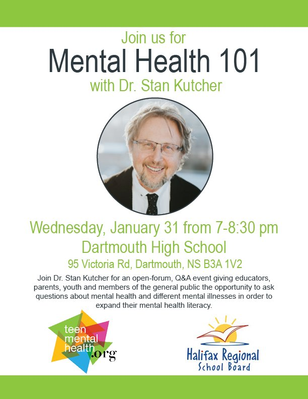Be sure to attend our Mental Health 101 event on January 31 at @Dartmouth_High. @StanKutcher will be leading the discussion and answering your questions about #mentalhealth to help you #getliterate.
