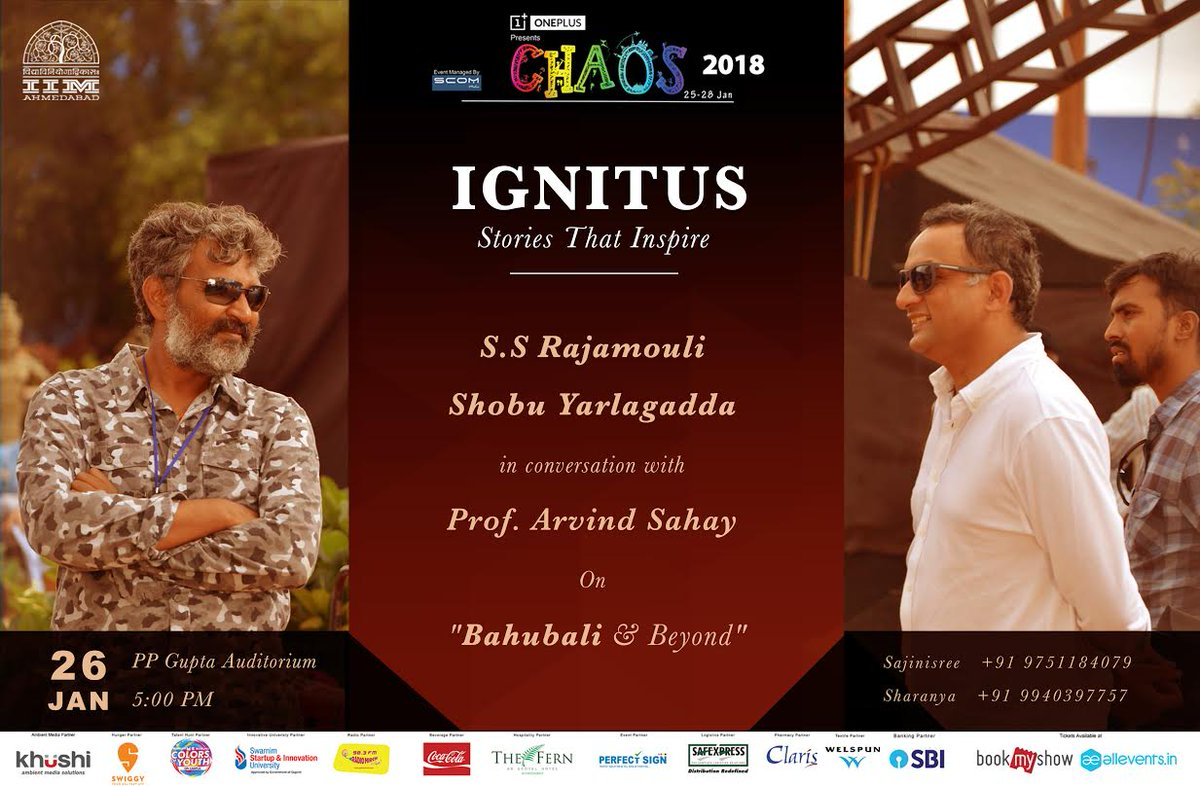 IIMA to host Baahubali's Director-Producer Duo and Quora's most followed personality