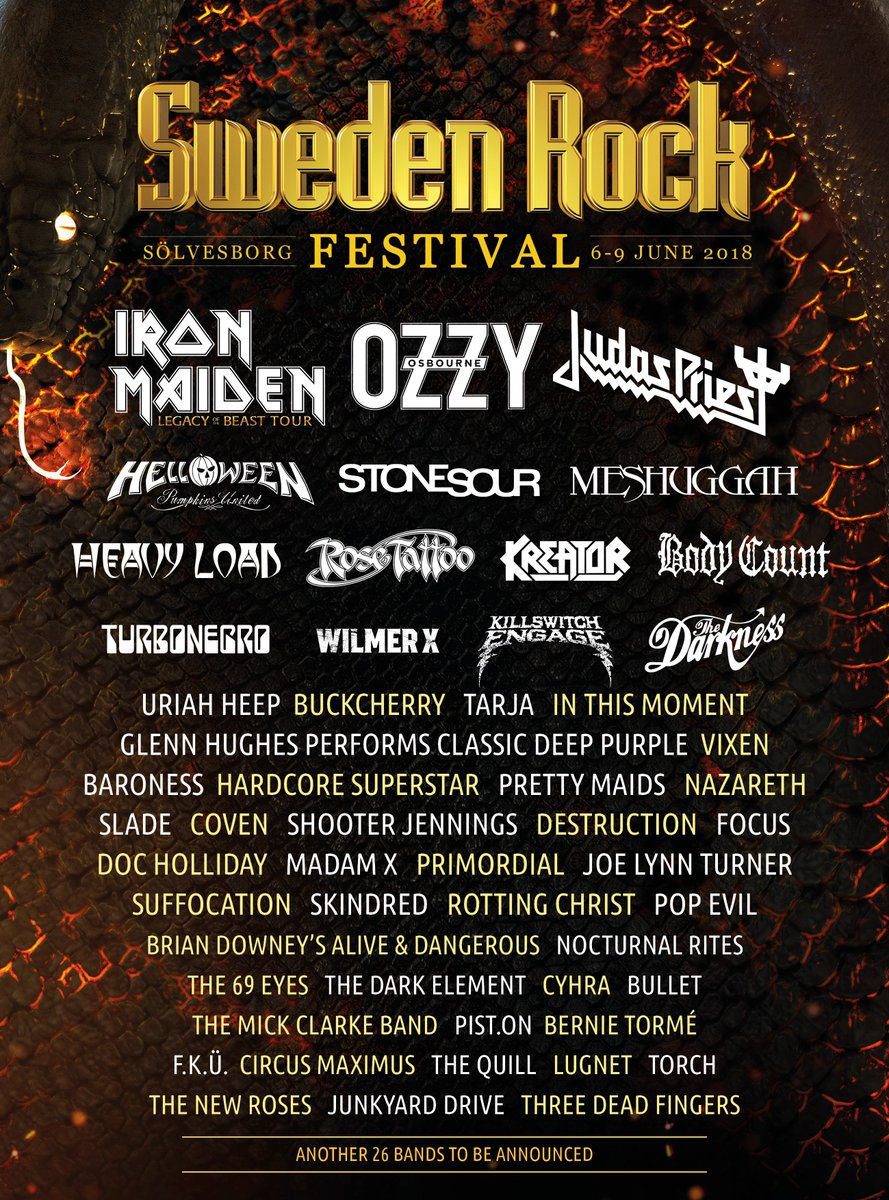Festival season is coming! Were at Sweden Rock on 8 June 2018!