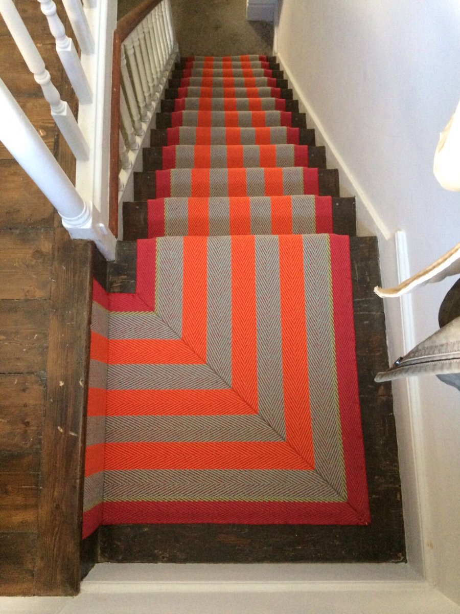 How to energise your hallway and staircase in one easy, colourful step. Gorgeous Fitzroy Bright by @Roger_OatesUK but fitted by our Dave. #stairunners #interiordesign #blackheath #dulwich #shoplocal