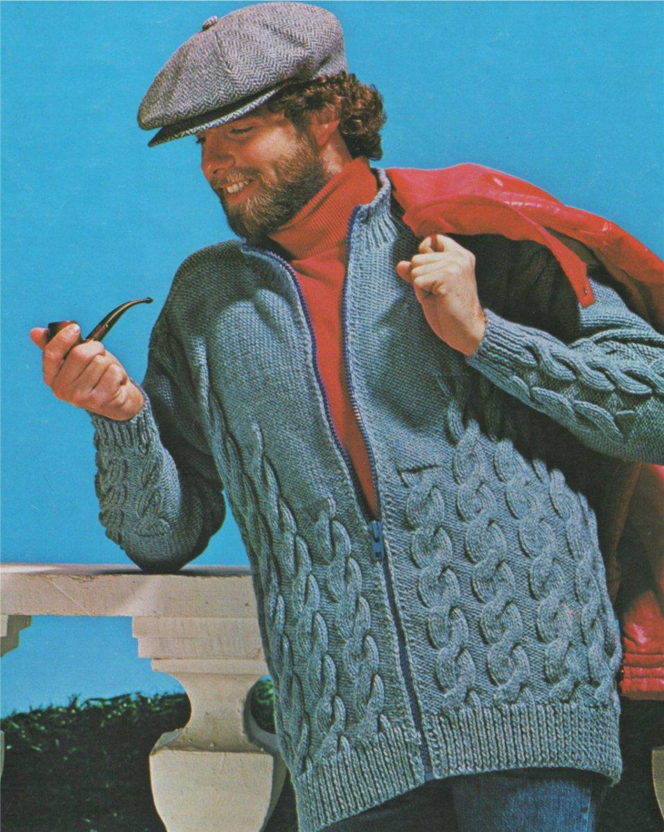 03108d98a2ad0 Instant Digital Download http   etsy.me 2E4V1aU  supplies  knitting  pdf   lumber  jacket  cardigan  aran  mens  retro  pattern  cable ...