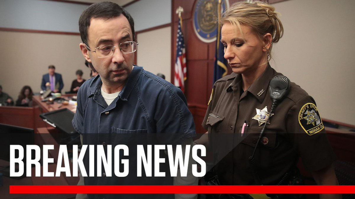 Breaking: Larry Nassar, the former USA Gymnastics and Michigan State doctor, has been sentenced to 40 to 175 years in prison for sexually assaulting athletes under his care. https://t.co/oARKXknlQt