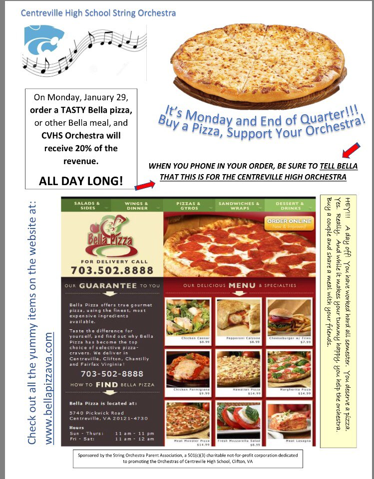 Cvhs Orchdorks On Twitter Buy A Pizza Monday From Bella