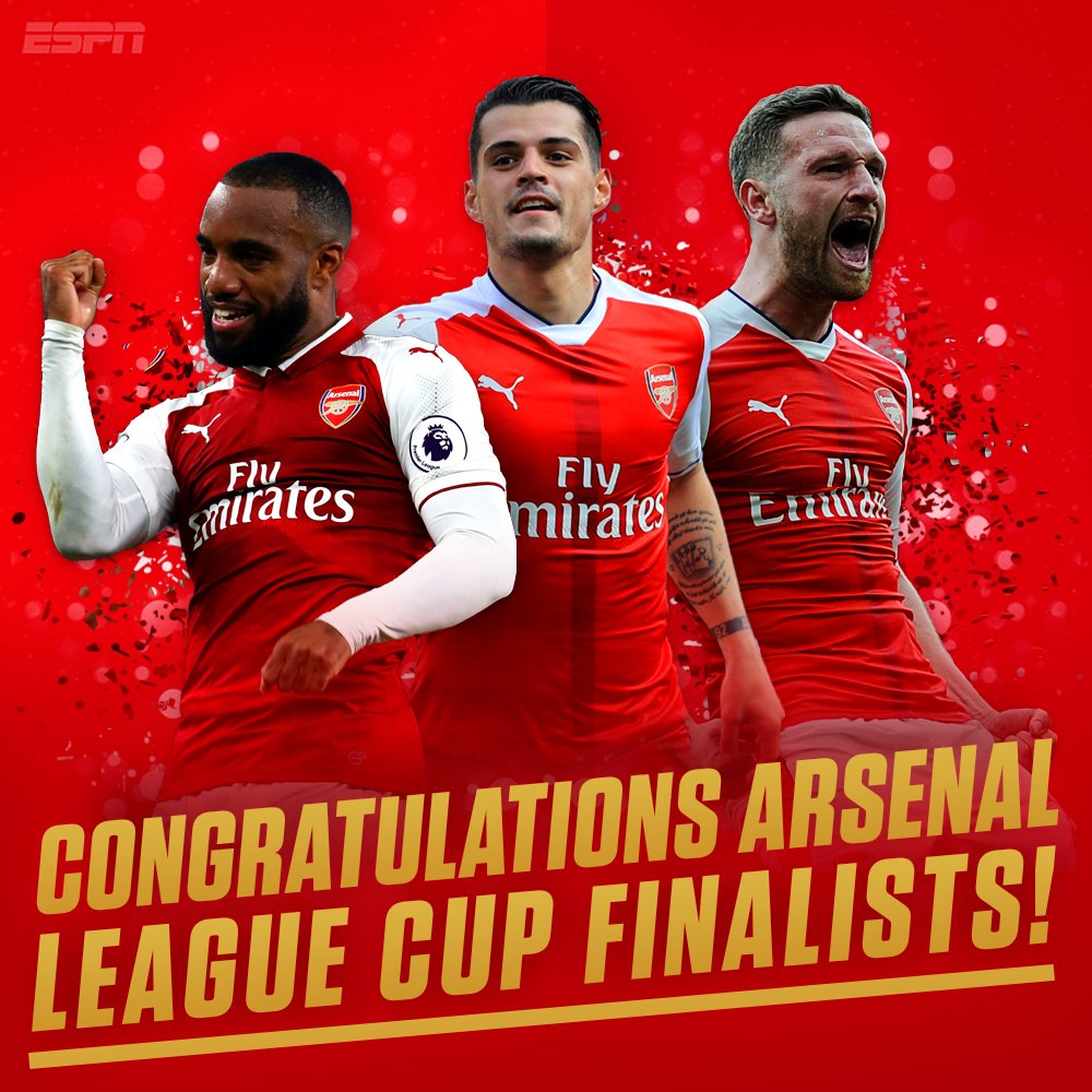 WEMBLEY BOUND!  Arsenal will play Manchester City in the League Cup final on February 25th.  #AFCvCFC