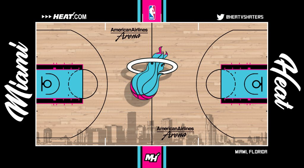 𝙃𝙀𝘼𝙏 𝙉𝘼𝙏𝙄𝙊𝙉 On Twitter Made An Update To My Vice City Court Concept I Really Hope The Heat Use An Alternate Court