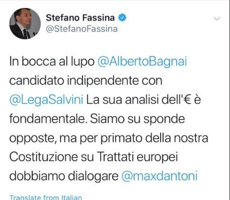 L'ex responsabile economico (Fassina) dell'ex segretario del Pd (Bersani) e oggi candidato con la lista Grasso elogia il candidato della Lega (Bagnai) per le sue posizioni anti Euro. Larghe intese a ogni latitudine. E' una campagna elettorale bellissima.