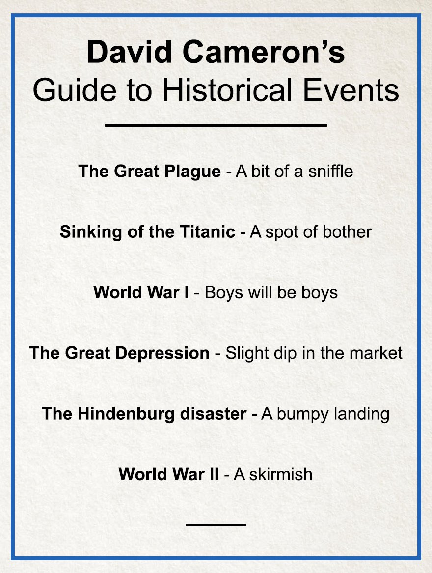 After describing Brexit as 'a mistake, not a disaster' David Cameron releases guide to historical events: