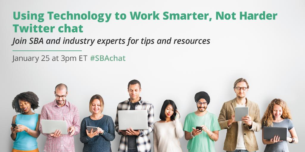 Join us today as we chat with @SBAgov about using technology to work smarter in your #smallbiz.