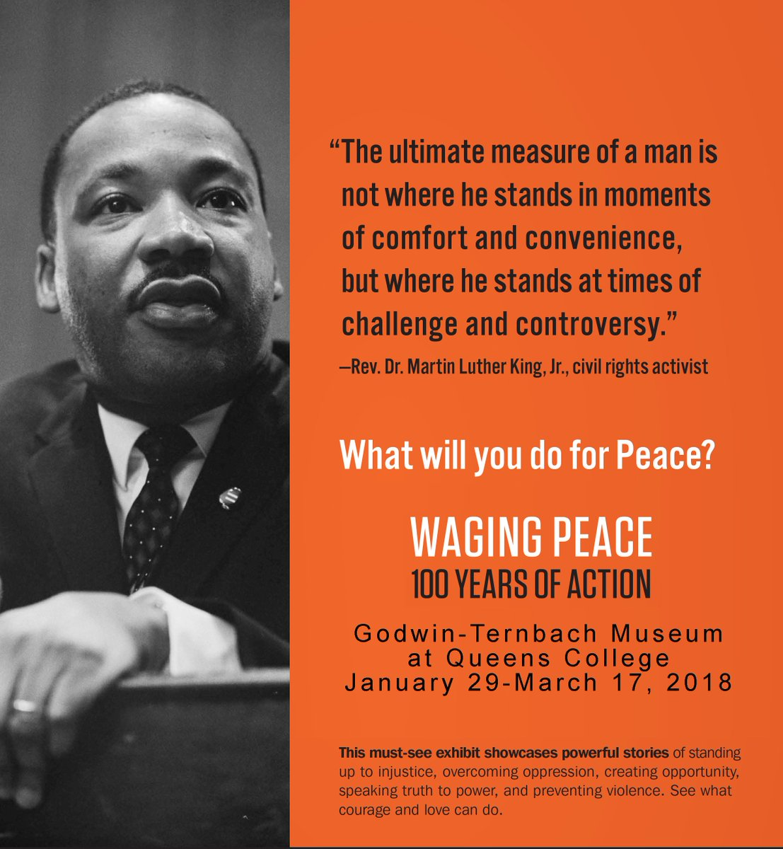 Personal stories of #nonviolentresistance showcased in the new @GodwinTernbach exhibition, Feb. 1 - March 17, including Martin Luther King Jr.&#39;s Letter from #Birmingham Jail. #DYK #MLK spoke at QC in 1965 on #peaceful resistance? #whatwillyoudoforpeace  http:// ht.ly/gHn130i03Pq  &nbsp;  <br>http://pic.twitter.com/v1Aq47dnSW
