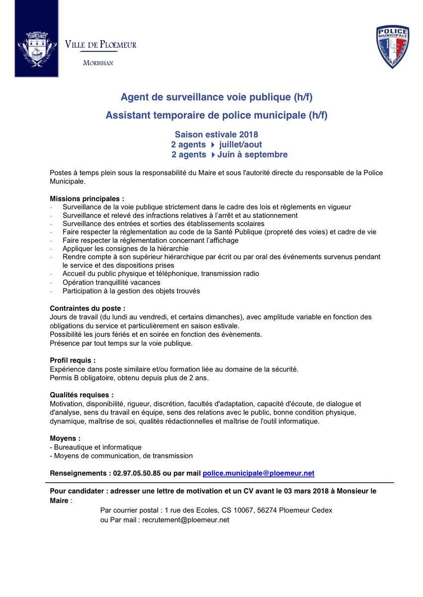 Ronan Loas On Twitter La Villeploemeur Recrute 4 Agents De