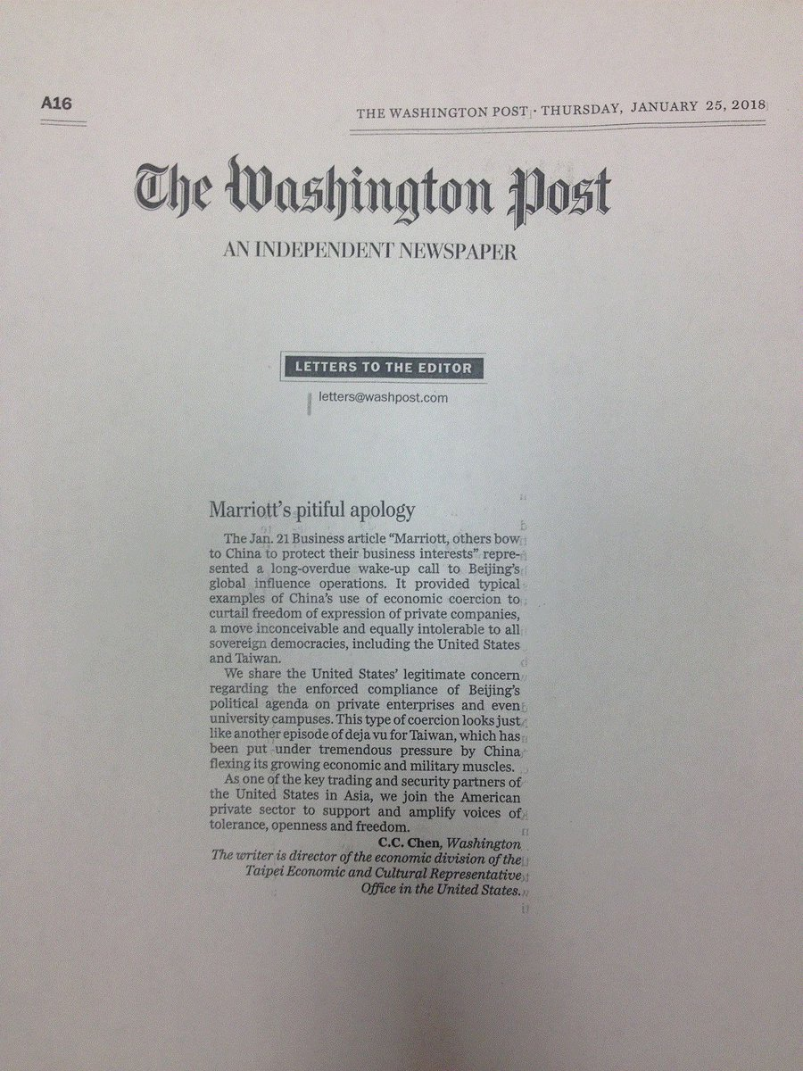 tecro on twitter the washington post published tecros letter to the editor