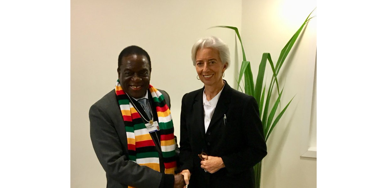 I had a productive meeting today with President Mnangagwa of #Zimbabwe. This was an opportunity to share views on ways to address the severe economic challenges that Zimbabwe is facing, and how the IMF can help.