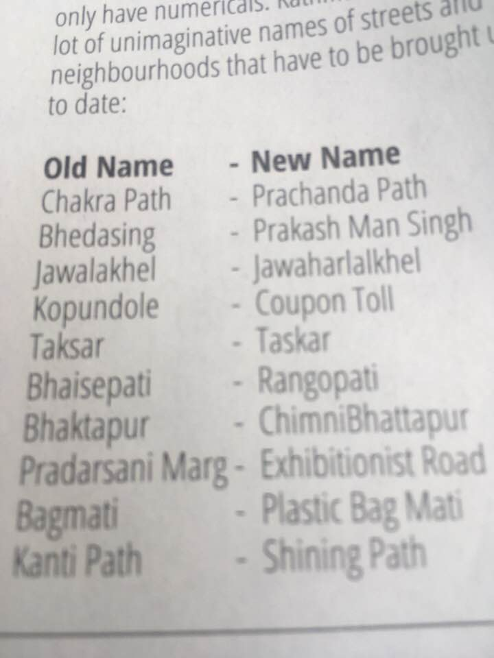 Suggestion of 'Ass' columnist in Nepali Times today- change name of Bhaktapur to ChimniBhattapur. https://t.co/6OF68KwQKN