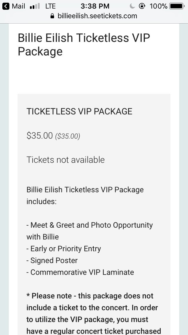 Billie updates on twitter vip packages are available for billies 1 reply 0 retweets 1 like m4hsunfo