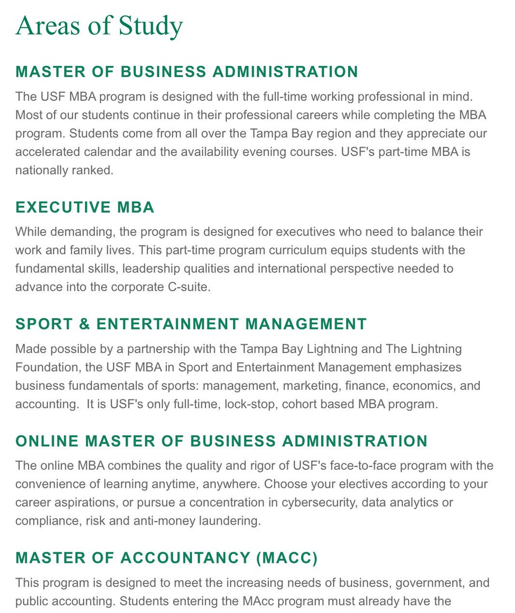 Usf Masters Programs >> Usf Muma On Twitter Usf Offers Several Graduate Business