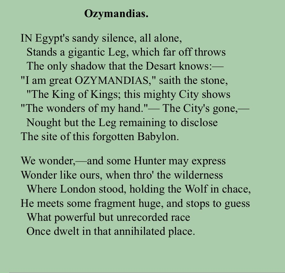 a comparison of two poems ozymandias by percy shelley and horace smith Two poets compete before we get to the poem  you're percy shelley you have a friend named horace smith 'ozymandias' is percy shelley's great poem about.