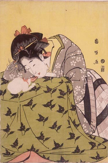 江戸時代は炭のコタツがあったけど、いつも真ん中に猫がいるのがおもしろい。今と変わってない。