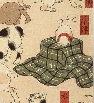 昔から変わらぬ習性www猫は江戸時代の炬燵で既に丸くなっているwww