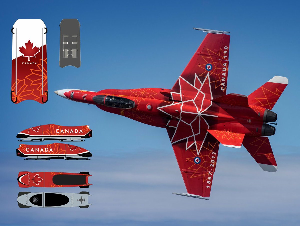 Canadau0027s 2018 Olympic bobsleds u0026 skeletons were inspired by last yearu0027s @CF18Demo Jet. Even had false canopy on the bottom.   - Trendsmap & Ric Petersonu0027s tweet -