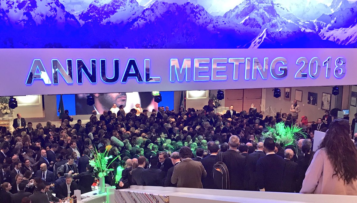 The waiting line for Trump's speech in #Davos (still nearly one hour to go). Has the feeling of teenagers queuing for a concert, but this are billionaires and CEOs #tictocnews @tictoc #Davos20182018