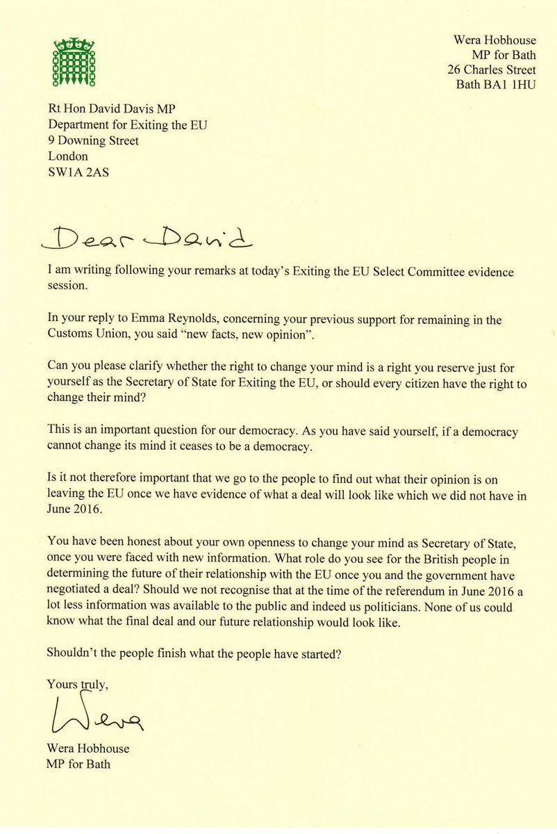 Wera Hobhouse Mp On Twitter HereS The Letter That I Wrote To