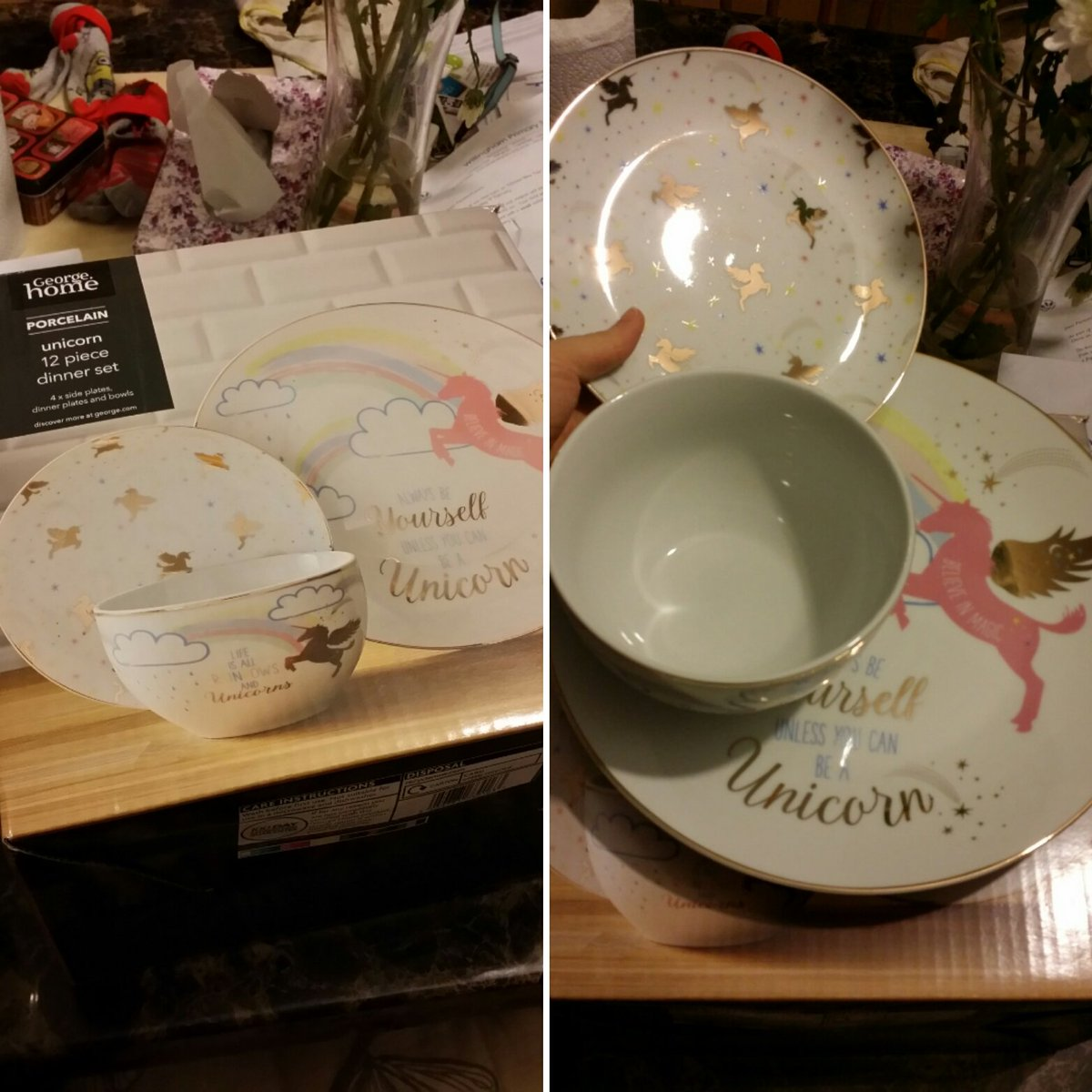 Also this unicorn porcelain dinner set arrived Iu0027m not holding back Yu0027all donu0027t need to live vicariously through me this set is from the ASDA Just buy ... & Sonia Leong on Twitter: