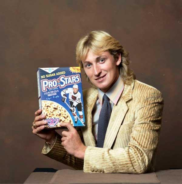 Happy 57th Birthday to The Great One. Here\s Wayne Gretzky promoting Pro Stars cereals.
