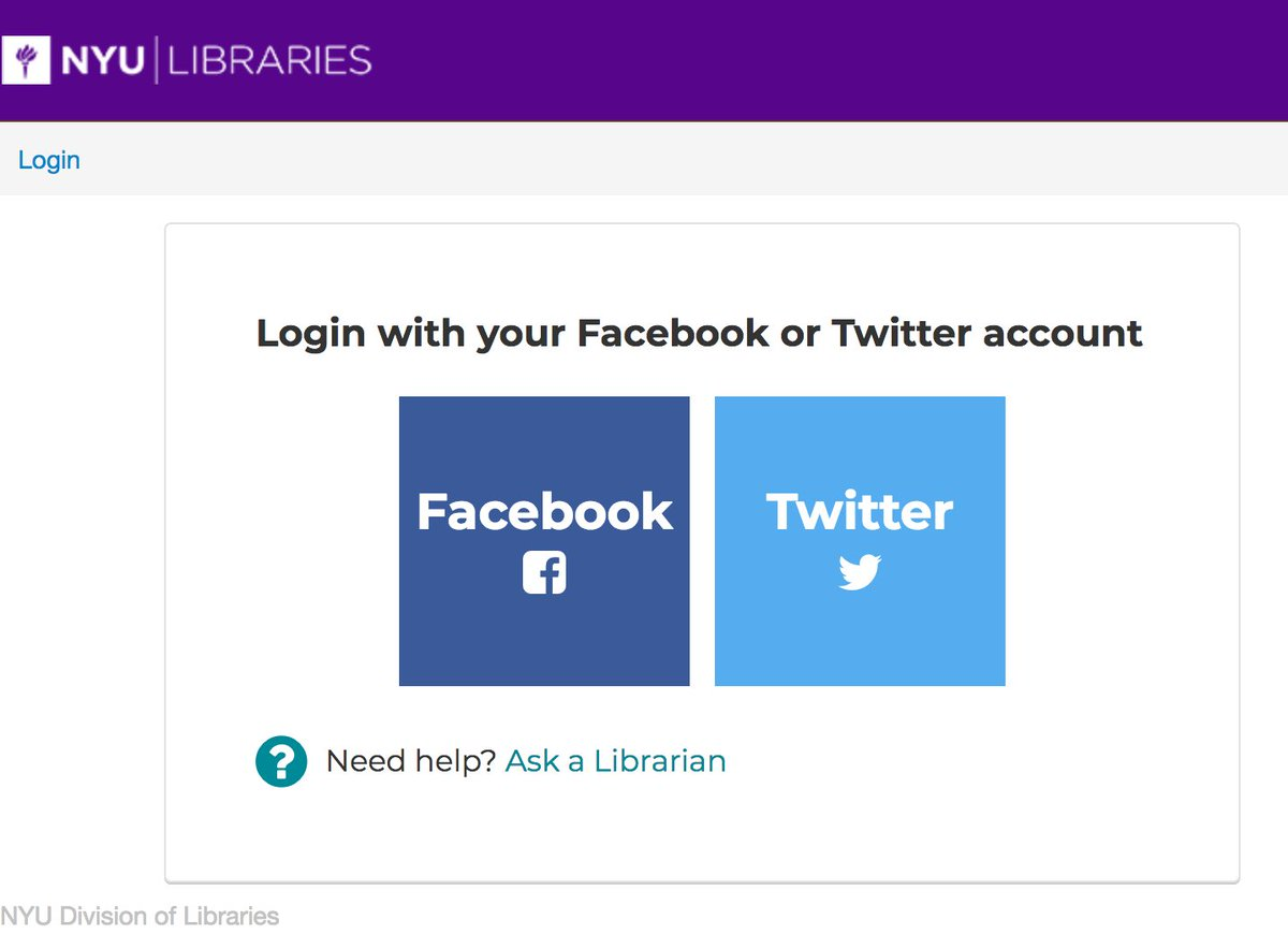 screenshot of silo login UI with Facebook and Twitter
