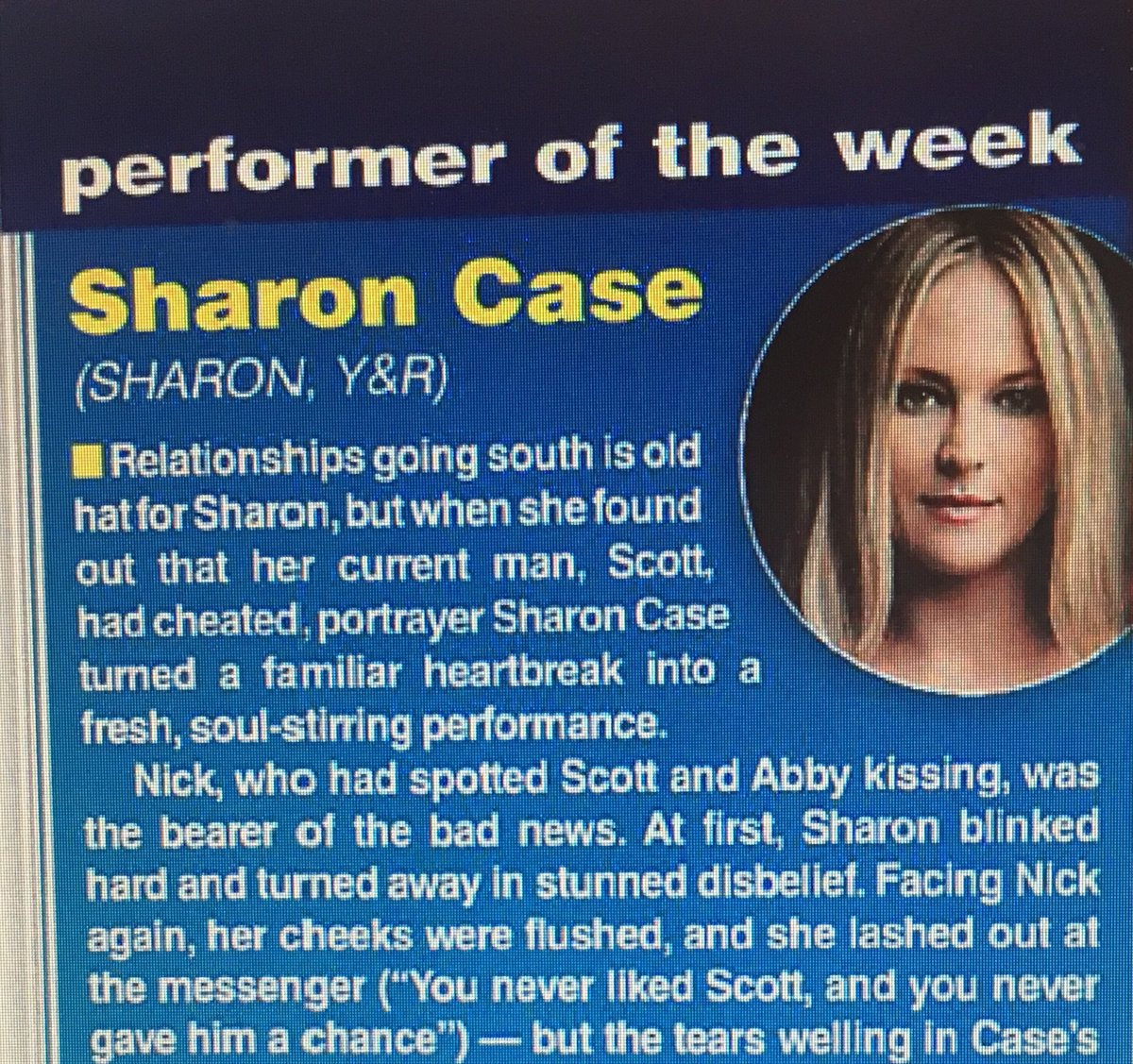 Kudos @sharonlcase for being named Performer of the Week by @SoapDigest! #YR