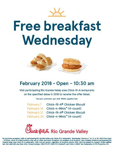 free chicken biscuit at chick fil a in february