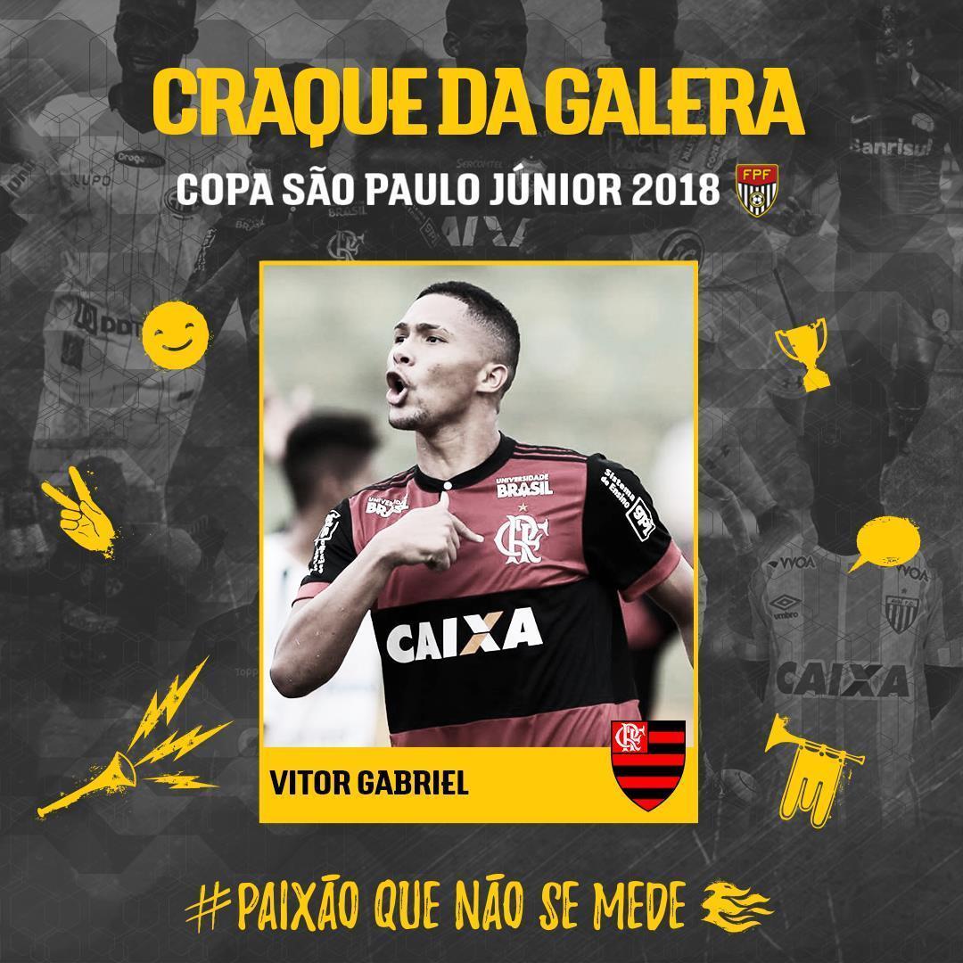 Com 56,2% dos votos, o torcedor elegeu o atacante Vitor Gabriel, do Flamengo como o Craque da Galera da 49ª Copinha! A votação foi realizada no perfil oficial da FPF no Facebook (https://t.co/MQd4VhUpUO). #PaixãoQueNãoSeMede #EsseÉoMeuJogo #FPF #FutebolPaulista