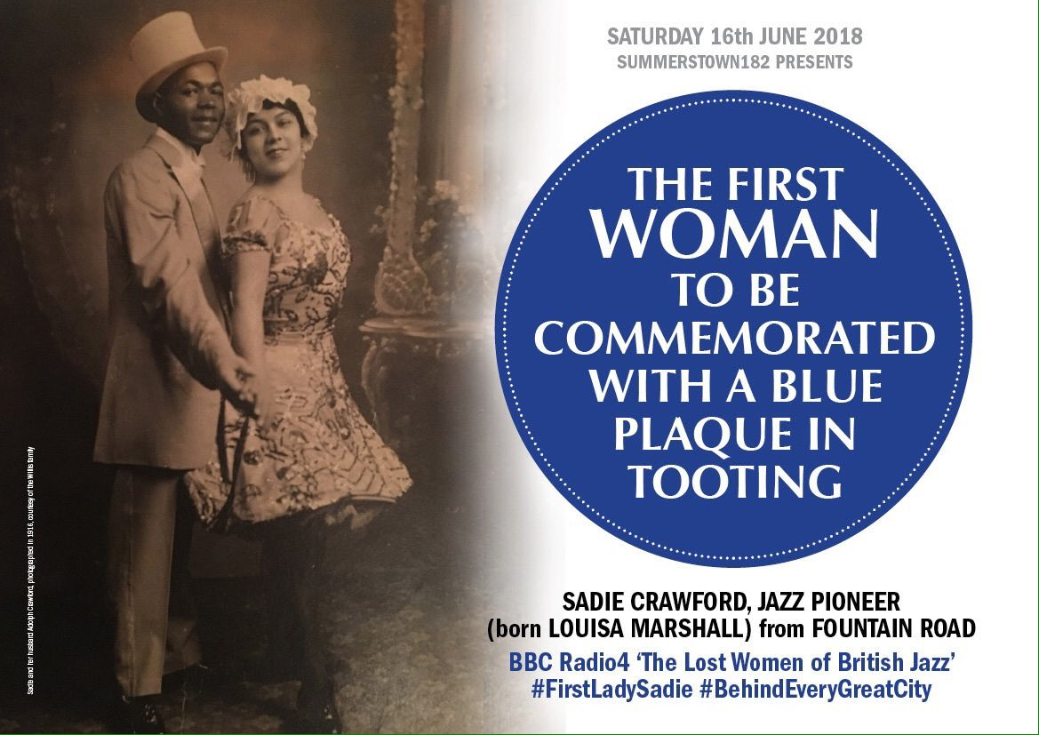 Thanks @bcaheritage for giving us such a lovely warm welcome today & spreading the word about Sadie & Adolph Crawford #jazzpioneer #Tooting Plaque #FirstLadySadie Don't miss brilliant #BlackSound Exhibition #BlackCulturalArchives #WindrushSquare #Brixton