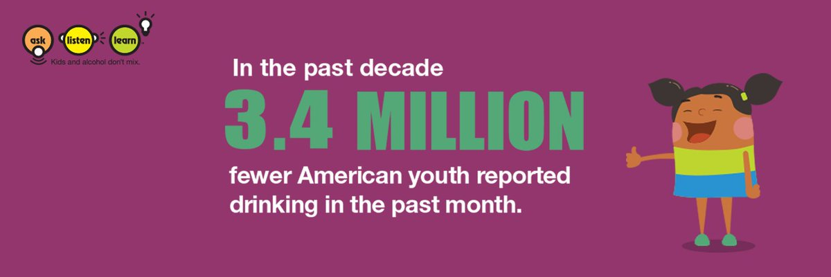 3.4 million fewer American youth have reported drinking in the past 10 years! 👏 #NDAFW