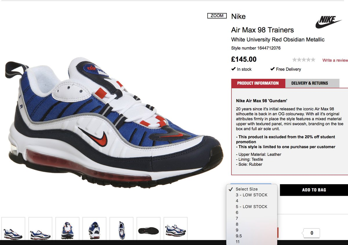 Sole Links On Twitter Restock Nike Air Max 98 Og Gundam