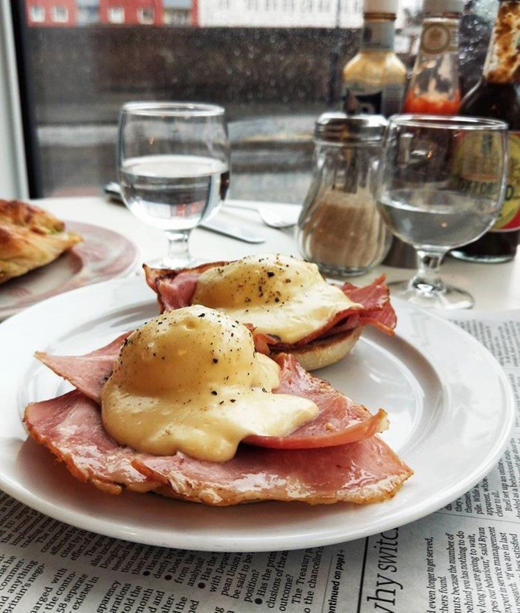 How do you like your eggs in the morning? We like ours in the afternoon, with bacon and hollandaise sauce. Love this photo of our signature plate of eggs benny by @nomnom_london https://t.co/xlWA7ohvsv