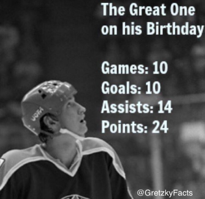 The Great One liked playing on his Birthday. Happy Birthday Wayne!