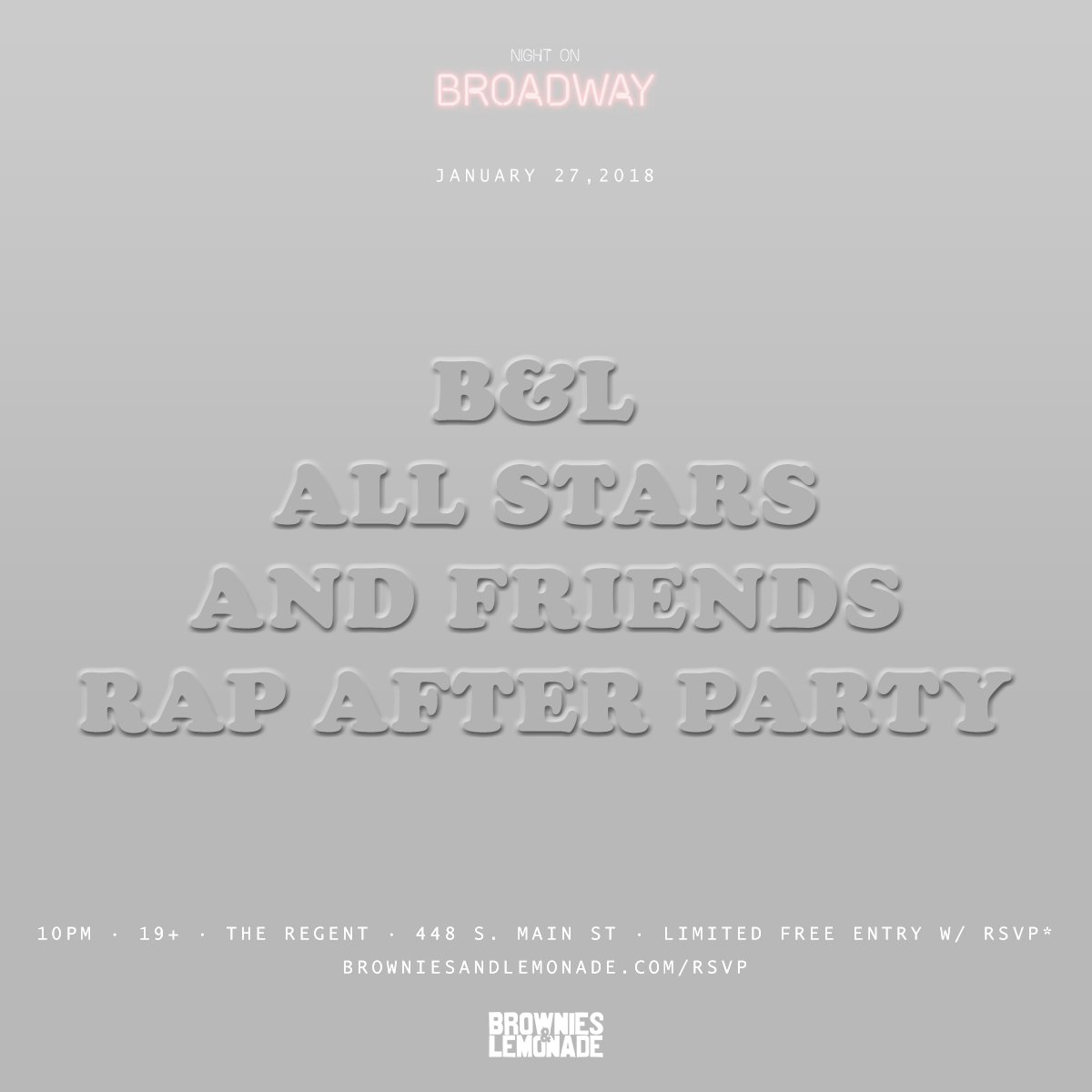 ANNOUNCING🎉 B&L ALL STARS & FRIENDS RAP AFTER PARTY SATURDAY 1/27 💊 ⚜ 🏰 🇸🇬 📆 🍫🍋 RSVP → http://browniesandlemonade.com/rsvp  FREE ENTRY W/ @MVNGCSTL WORLD TIX → http://bit.ly/movingcastleworld…