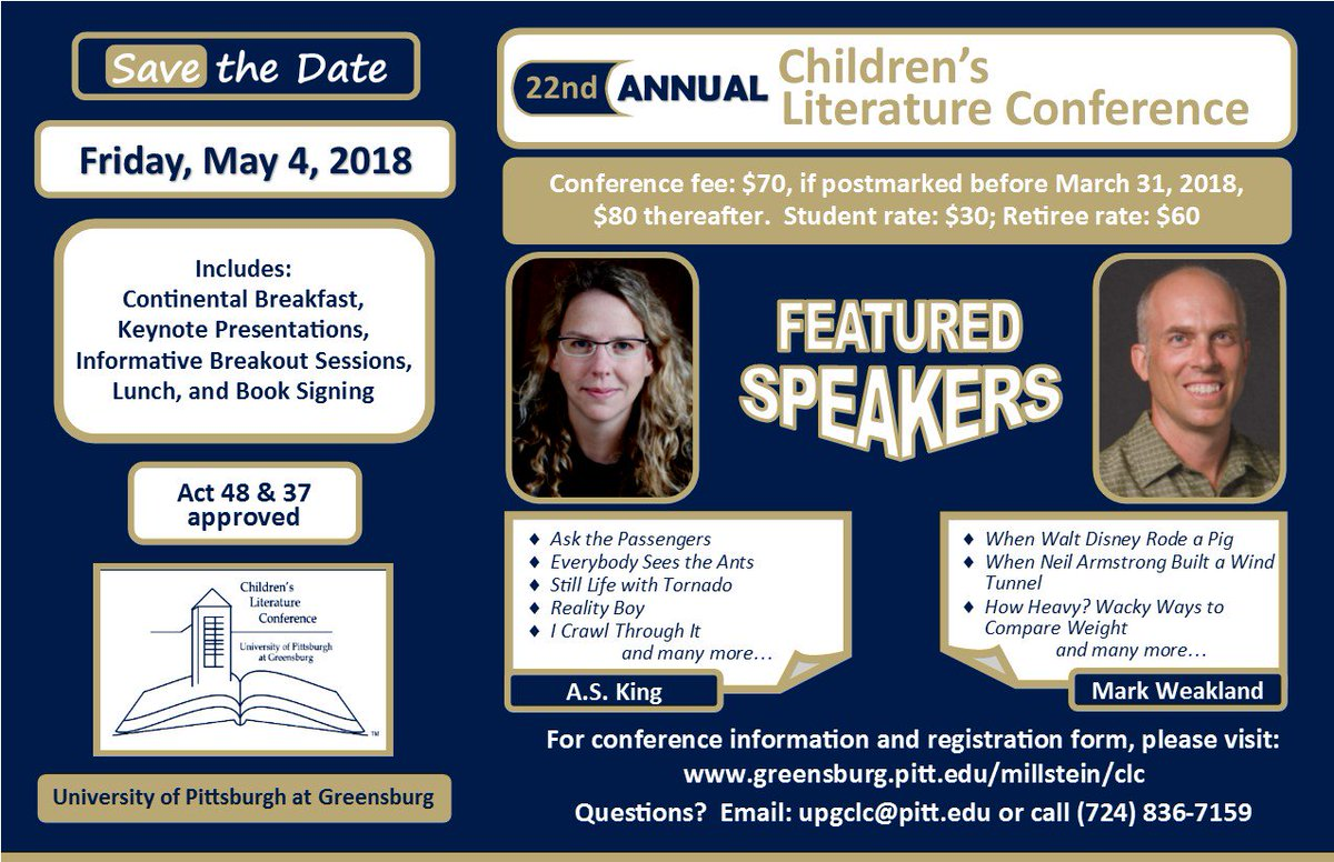 The moment you've been waiting for... Registration for the 2018 Children's  Literature Conference is now open!