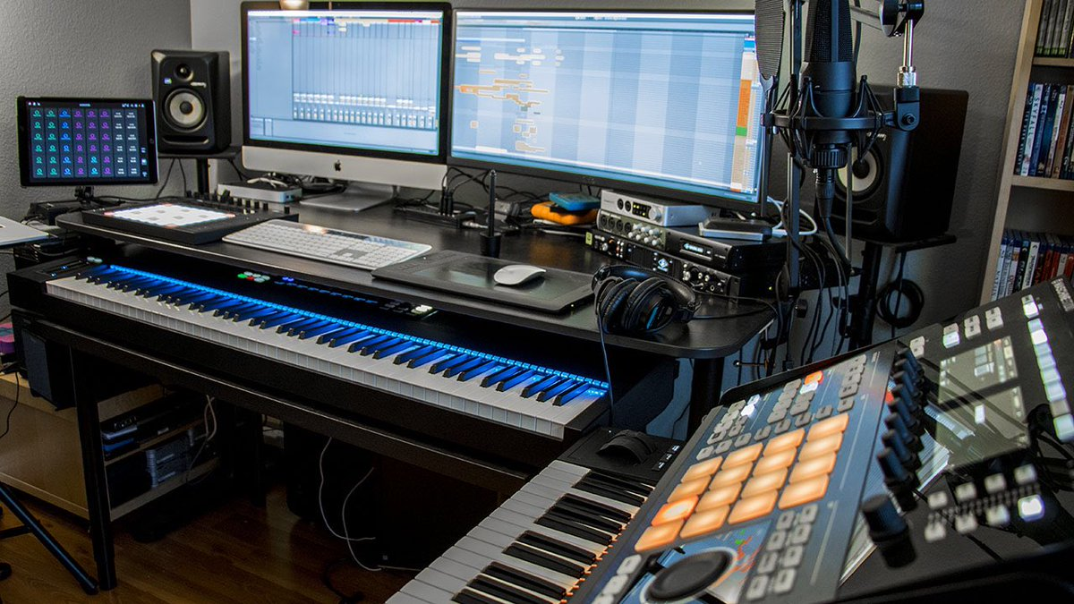 "bE-Music on Twitter: ""Love my home office. The desk is an @IKEAUSA hacked  desk. @NI_News @Ableton #maschinestudio #komplete #kompletekontrol  #kompletekontrolS88 #filmscoring #studio #studiolife #musicproduction  #musicproducer #midi #keyboard ..."