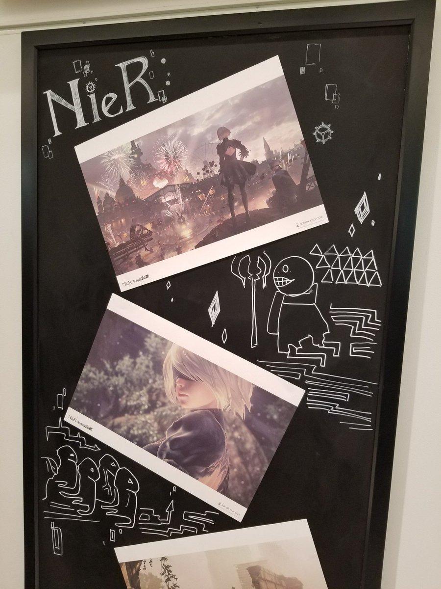 あと、一緒にカフェにいったアートデザイナーの西井が、即興でお店の黒板にイラストを描いてくれたので、大阪店に行かれる方はぜひチラ見してくれると嬉しいです。#NieR #ニーア
