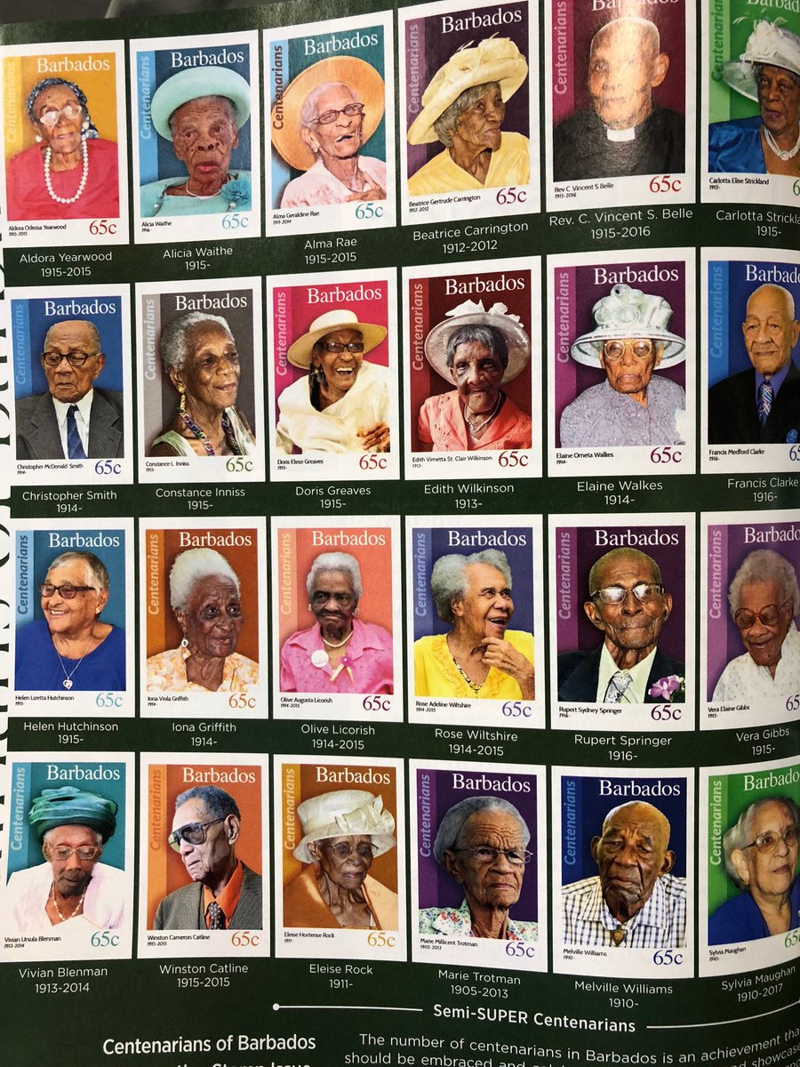 When you reach 100 years old in Barbados, you get a stamp in your honour. Lovely.