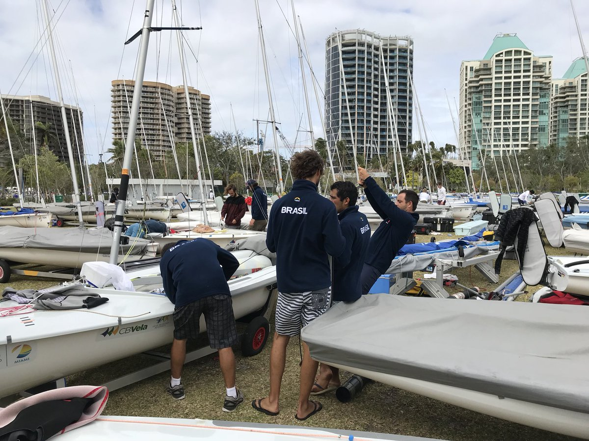 Sailing teams from all over the world at Regatta Park for the 2018 World Cup Series #Miami Festival this weekend. @miamiparks @ussailing