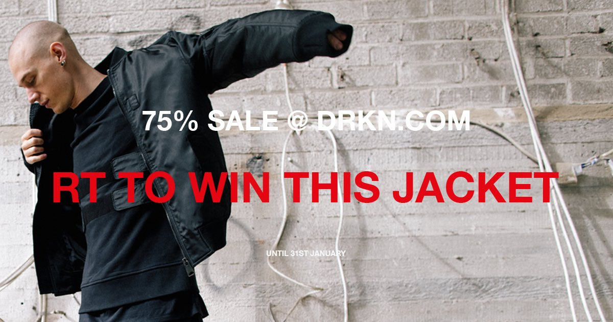 RT this for a chance to win the DRKN Bomber Jacket. Final sale ending Jan 31st at http://drkn.com join us #wearegamers