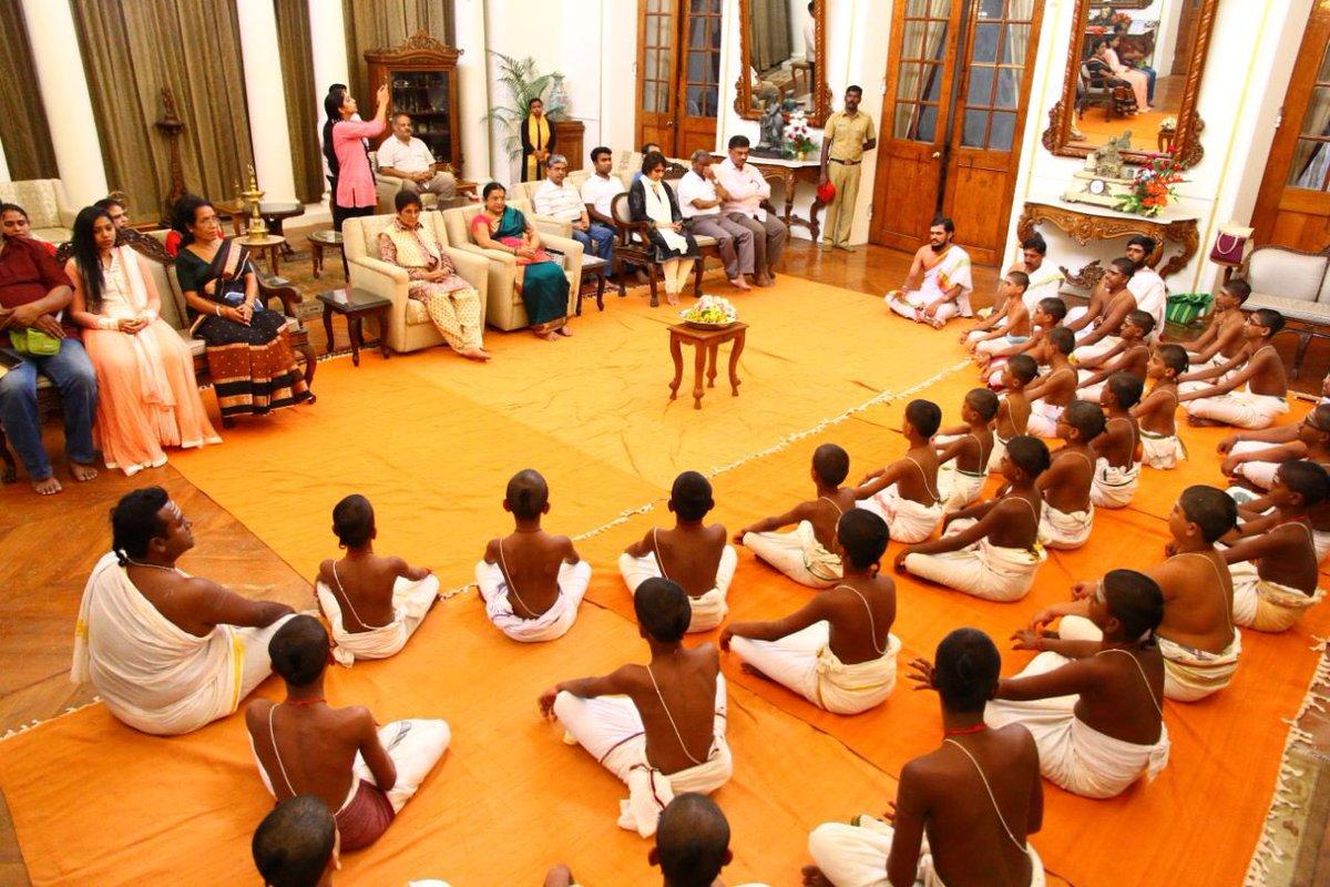 Students  from Vedasramma Gurukulam in Karuvadippam, Puducherry were invited to come and chant in the Durbar Hall Of RajNivas.  They spiritually edified the RajNivas.