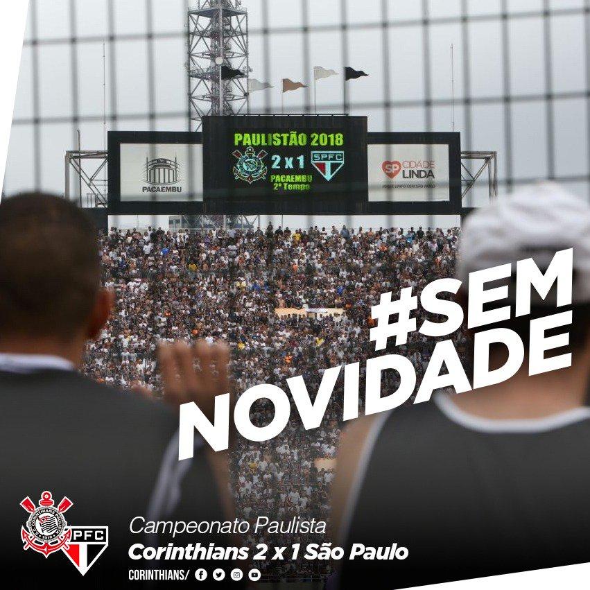 Pacaembu, @A_Corinthians e Morumbi... Muda o estádio, mas o resultado do Majestoso segue #SemNovidade.